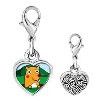 Link Charm Bracelet - 925  sterling silver gold plated cartoon groundhog day photo heart frame link charm Image.