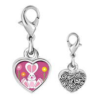 Link Charm Bracelet - 925  sterling silver gold plated cartoon bunny love easter photo heart frame link charm Image.