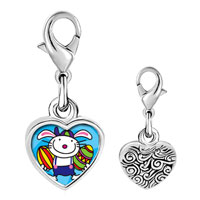 Link Charm Bracelet - 925  sterling silver gold plated cartoon smart bunny photo heart frame link charm Image.
