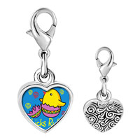 Link Charm Bracelet - 925  sterling silver gold plated cartoon chicks rule easter photo heart frame link charm Image.