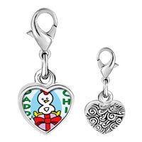 Link Charm Bracelet - 925  sterling silver gold plated cartoon daddy' s chick photo heart frame link charm Image.