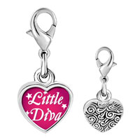 Link Charm Bracelet - 925  sterling silver gold plated cartoon little diva photo heart frame link charm Image.