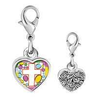 Link Charm Bracelet - 925  sterling silver easter cross white photo heart frame link charm Image.