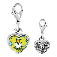 Link Charm Bracelet - 925  sterling silver gold plated cartoon theme baby chick photo heart frame link charm Image.