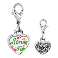 Link Charm Bracelet - 925  sterling silver gold plated cartoon theme spring time photo heart frame link charm Image.