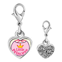 Link Charm Bracelet - 925  sterling silver gold plated cartoon theme little princesss photo heart frame link charm Image.