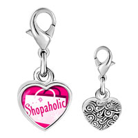Link Charm Bracelet - 925  sterling silver gold plated cartoon theme shopaholic photo heart frame link charm Image.