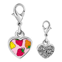 Link Charm Bracelet - 925  sterling silver gold plated cartoon theme strawberry photo heart frame link charm Image.