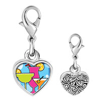 Link Charm Bracelet - 925  sterling silver gold plated cartoon theme cocktail summer photo heart frame link charm Image.