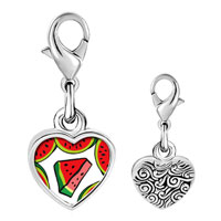 Link Charm Bracelet - 925  sterling silver gold plated food watermelon photo heart frame link charm Image.