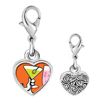 Link Charm Bracelet - 925  sterling silver gold plated food drink photo heart frame link charm Image.