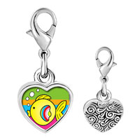 Link Charm Bracelet - 925  sterling silver gold plated animal fish photo heart frame link charm Image.