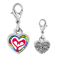 Link Charm Bracelet - 925  sterling silver gold plated love heart photo heart frame link charm Image.