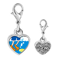 Link Charm Bracelet - 925  sterling silver gold plated animal swimming fish photo heart frame link charm Image.