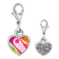 Link Charm Bracelet - 925  sterling silver gold plated travel sandal photo heart frame link charm Image.