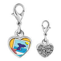 Link Charm Bracelet - 925  sterling silver gold plated travel whale photo heart frame link charm Image.