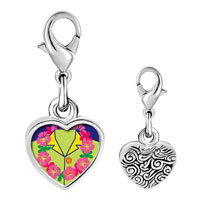 Link Charm Bracelet - 925  sterling silver gold plated travel flower wreath photo heart frame link charm Image.