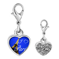 Link Charm Bracelet - 925  sterling silver gold plated landmark paris eiffel tower photo heart frame link charm Image.