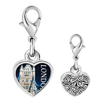 Link Charm Bracelet - 925  sterling silver gold plated landmark london photo heart frame link charm Image.