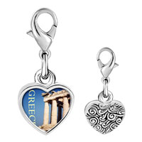 Link Charm Bracelet - 925  sterling silver gold plated landmark greece photo heart frame link charm Image.