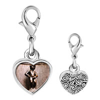Link Charm Bracelet - 925  sterling silver gold plated landmark pee boy photo heart frame link charm Image.