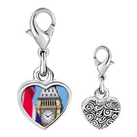 Link Charm Bracelet - 925  sterling silver gold plated landmark big ben photo heart frame link charm Image.