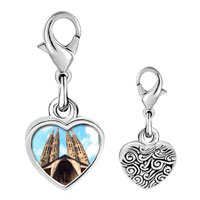 Link Charm Bracelet - 925  sterling silver gold plated landmark gothic architecture photo heart frame link charm Image.