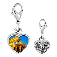 Link Charm Bracelet - 925  sterling silver gold plated landmark colosseum photo heart frame link charm Image.