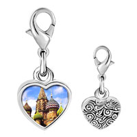 Link Charm Bracelet - 925  sterling silver gold plated landmark bangkok photo heart frame link charm Image.