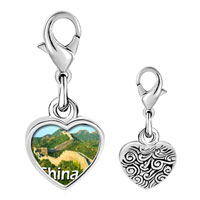 Link Charm Bracelet - 925  sterling silver gold plated travel the great wall photo heart frame link charm Image.