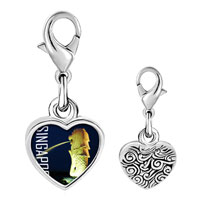 Link Charm Bracelet - 925  sterling silver gold plated travel merlion photo heart frame link charm Image.