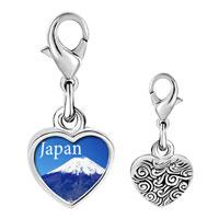 Link Charm Bracelet - 925  sterling silver gold plated travel mt fuji photo heart frame link charm Image.