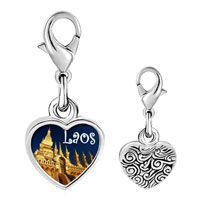 Link Charm Bracelet - 925  sterling silver gold plated travel that luang photo heart frame link charm Image.