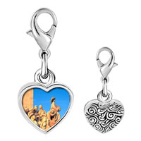 Link Charm Bracelet - 925  sterling silver gold plated travel monument to the discoveries photo heart frame link charm Image.