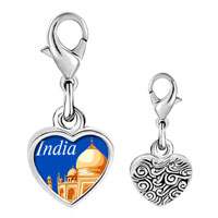 Link Charm Bracelet - travel resort of taj mahal photo heart dangle 925  sterling silver Image.