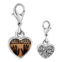 Link Charm Bracelet - 925  sterling silver gold plated travel hollywood photo heart frame link charm Image.