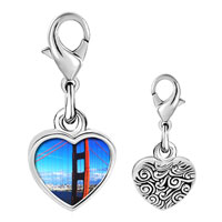 Link Charm Bracelet - 925  sterling silver gold plated travel golden gate bridge photo heart frame link charm Image.