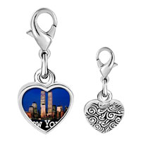 Link Charm Bracelet - 925  sterling silver gold plated travel new york city photo heart frame link charm Image.