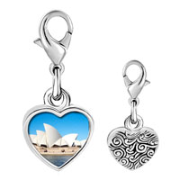 Link Charm Bracelet - 925  sterling silver gold plated travel sidney opera house photo heart frame link charm Image.