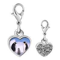 Link Charm Bracelet - 925  sterling silver gold plated animal penguin in antarctica photo heart frame link charm Image.