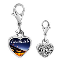 Link Charm Bracelet - 925  sterling silver gold plated travel oresund bridge photo heart frame link charm Image.
