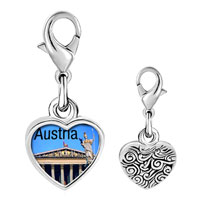 Link Charm Bracelet - 925  sterling silver travel parliament building of austria photo heart frame link charm Image.