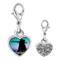 Link Charm Bracelet - 925  sterling silver gold plated travel windmill in netherlands photo heart frame link charm Image.