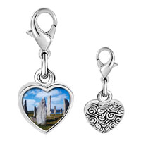 Link Charm Bracelet - 925  sterling silver gold plated travel callanish standing stones photo heart frame link charm Image.