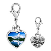 Link Charm Bracelet - 925  sterling silver gold plated travel matterhorn photo heart frame link charm Image.