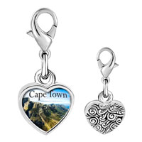 Link Charm Bracelet - 925  sterling silver gold plated travel cape town photo heart frame link charm Image.