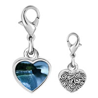 Link Charm Bracelet - 925  sterling silver gold plated travel niagara falls photo heart frame link charm Image.
