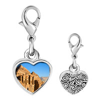 Link Charm Bracelet - 925  sterling silver gold plated travel kasneh in petra photo heart frame link charm Image.