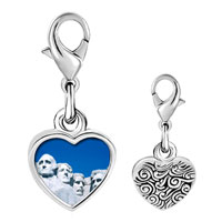 Link Charm Bracelet - 925  sterling silver gold plated travel mount rushmore photo heart frame link charm Image.