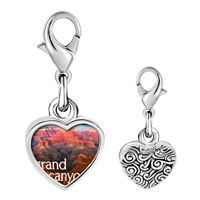 Link Charm Bracelet - 925  sterling silver gold plated travel grand canyon photo heart frame link charm Image.